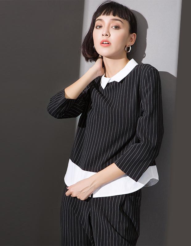 YCCL1-236 衬衫假两件式条纹八分袖上衣