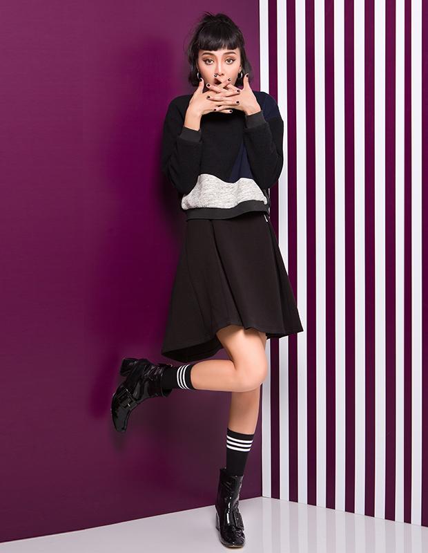 【伊霓裳】YCDL6-402 高腰双拉链A字半裙