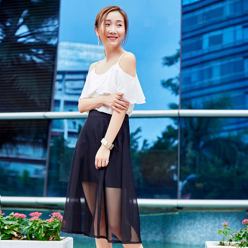 YNS67 荷叶浪漫网裙套装