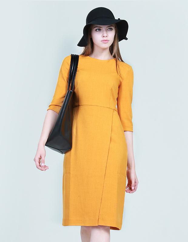 【伊霓裳】L-14229 简约剪裁中袖连衣裙
