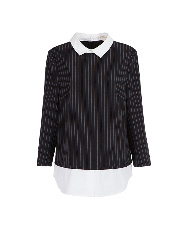 【伊霓裳】YCCL1-236 衬衫假两件式条纹八分袖上衣