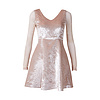 D18181206-3 收腰鴕鳥毛閃光輕奢小禮裙