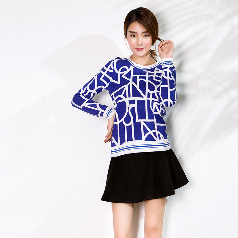 YCCW-1014 时尚几何提花撞色套头毛衣