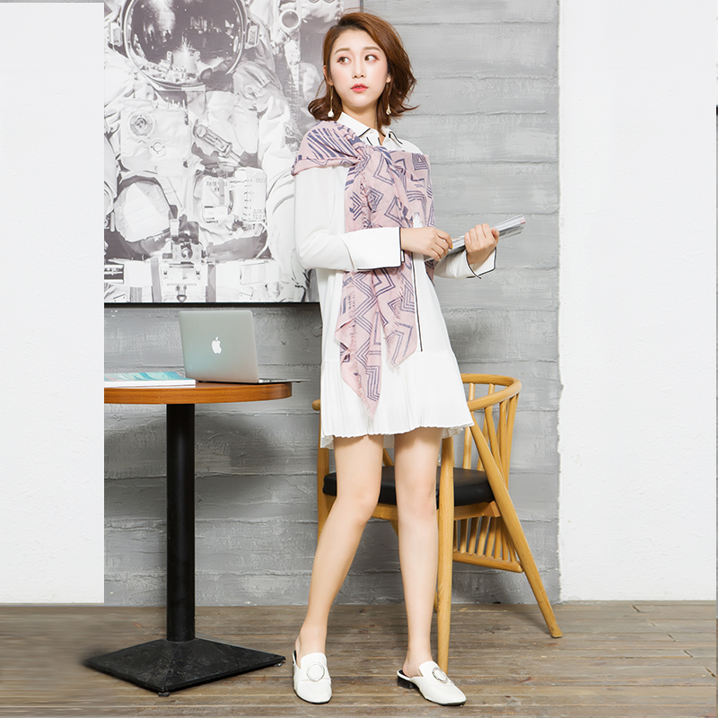 YCCQ-014-1 百褶镶边两件套连衣裙
