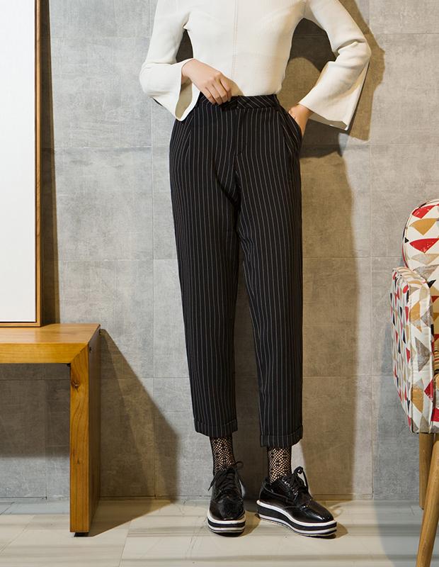 服装积分兑换 YCCL1-231 复古竖条纹九分锥形裤