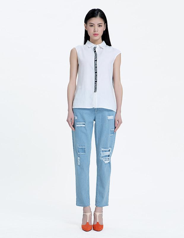 YCAL6-8300 时尚字母撞色边衬衫