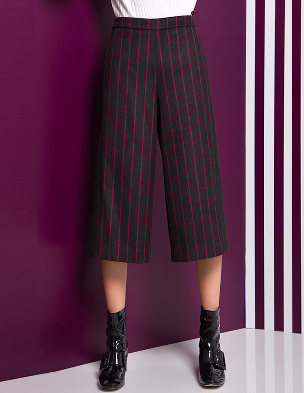 YCDL7-437 条纹撞色拼接八分阔腿裤