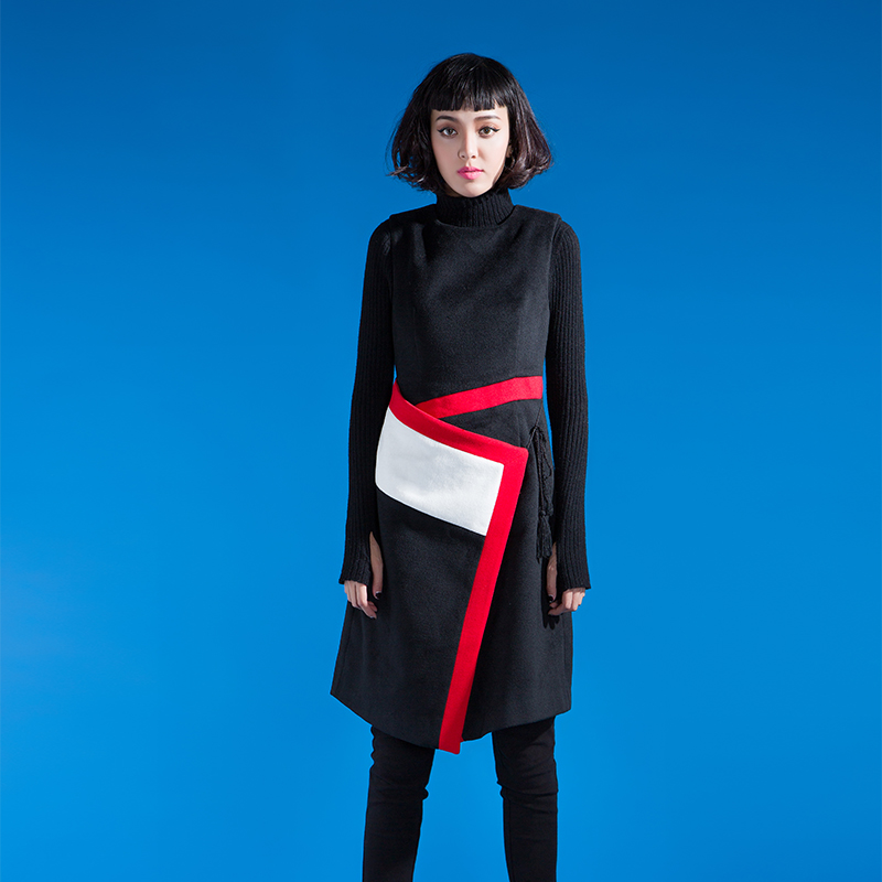 YCDL10-521 不规则撞色收腰绑带背心裙