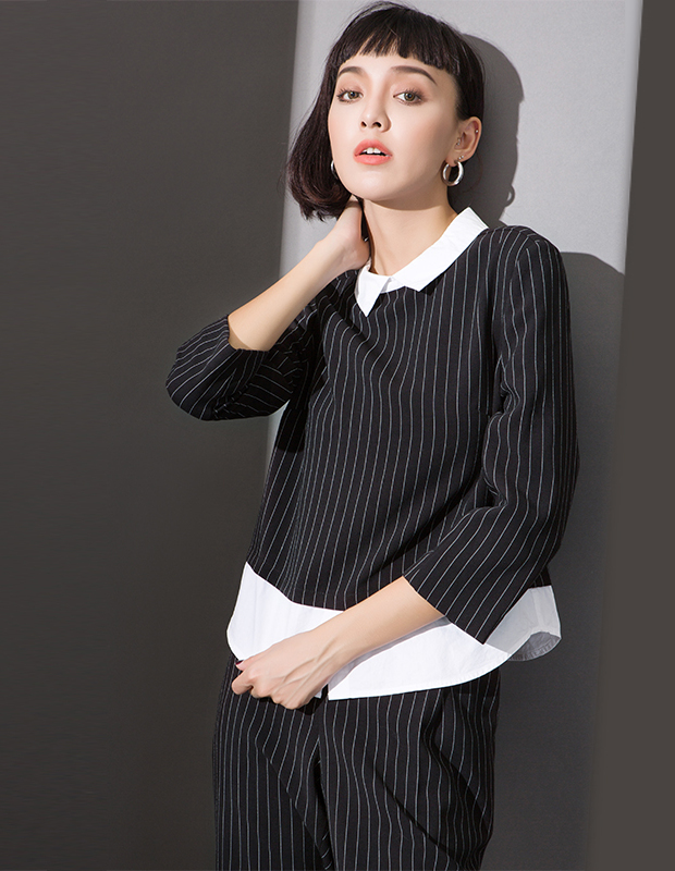 服装积分兑换 YCCL1-236 衬衫假两件式条纹八分袖上衣