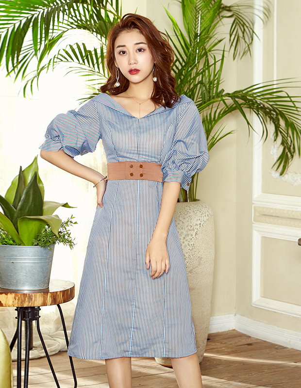 【伊霓裳】YCAB-009 立体显瘦条纹连衣裙