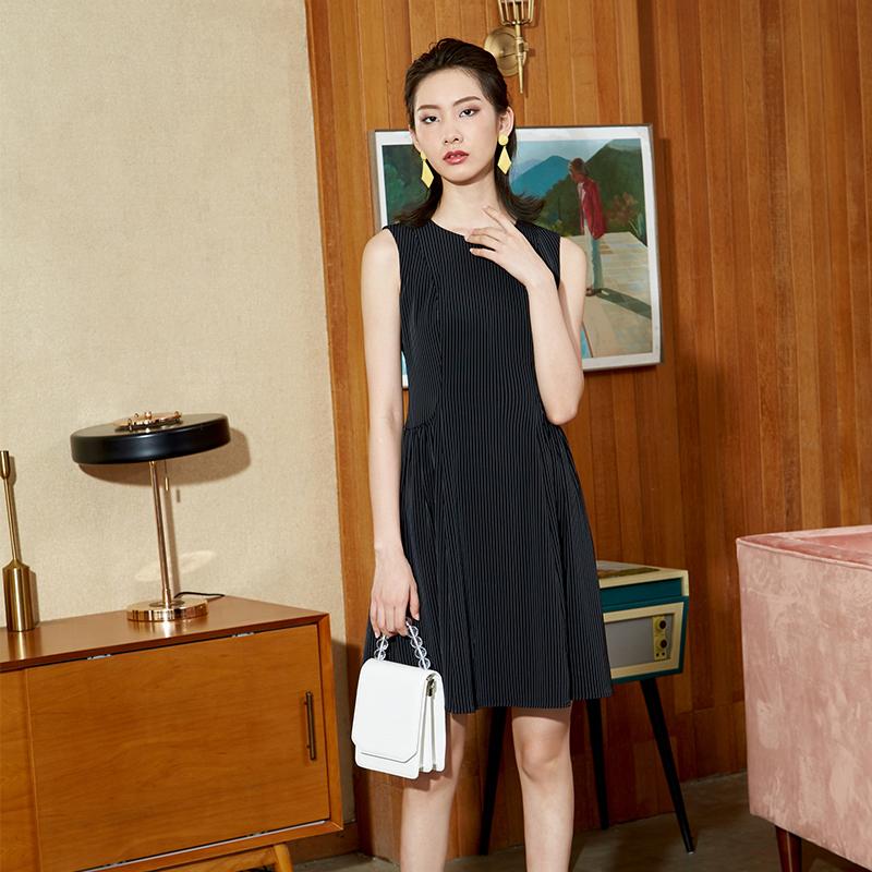 YYBJ-0047 通勤暗條無袖連衣裙