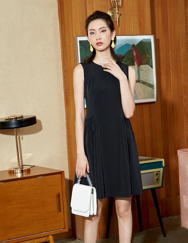YYBJ-0047 通勤暗条无袖连衣裙