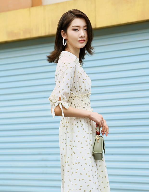 【伊霓裳】D190736-1 夏日沫沫茶碎花連衣裙