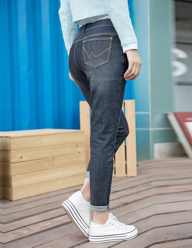 【伊霓裳】YCCW8-0026 百搭显瘦弹力舒适牛仔长裤