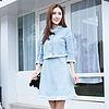 YCCW6-0016 小香風毛邊牛仔背心裙 藍色 S