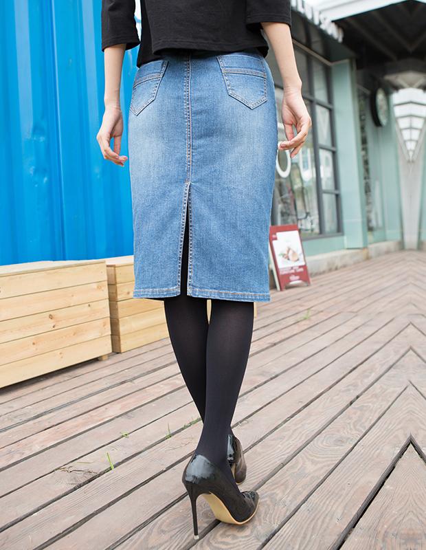 【伊霓裳】YCCW8-0034 高腰显瘦中长款牛仔包裙