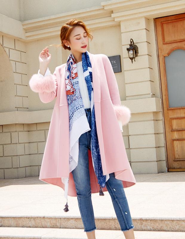 YCDQ-606-1 狐狸毛收腰双面呢大衣