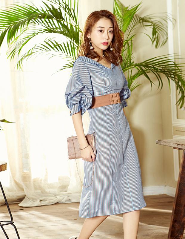 YCAB-009 立体显瘦条纹连衣裙