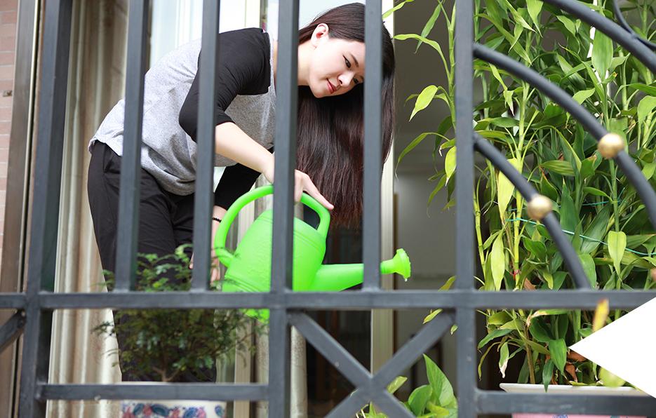 Miss在阳台种了一些小植物,由于经常在外,所以回到家第一件事就是给这些植物浇水。