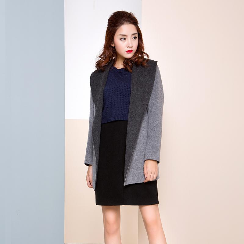 【特惠】 YCDW8-0018 时尚大翻领中长款双面羊毛大衣