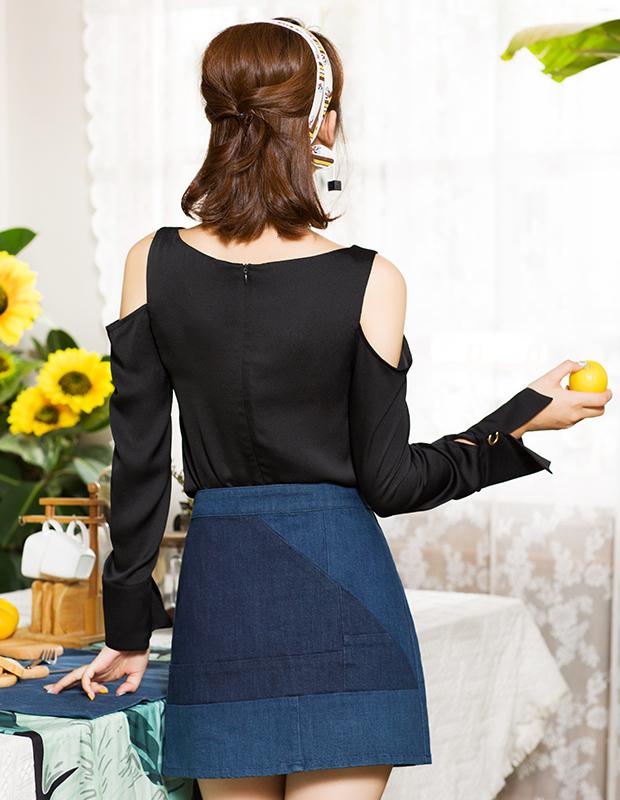 【伊霓裳】服装积分兑换 YCCQ-501 色块拼接牛仔短裙
