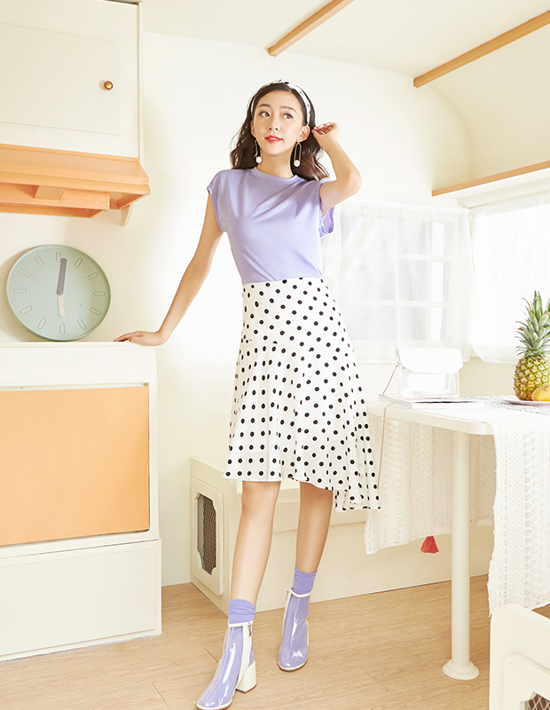【伊霓裳】YCAB-017 复古波点鱼尾半裙(赠送松紧发带)