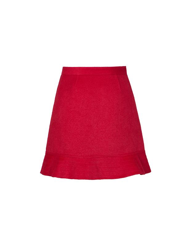 【伊霓裳】【特惠】 YCDW9-0012 小A型荷叶边俏皮精致双面呢半裙
