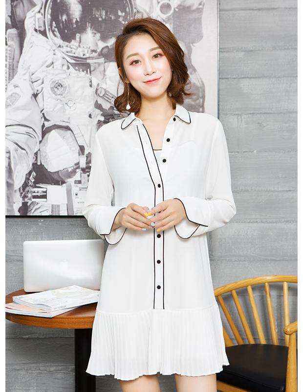 【伊霓裳】YCCQ-014-1 百褶镶边两件套连衣裙