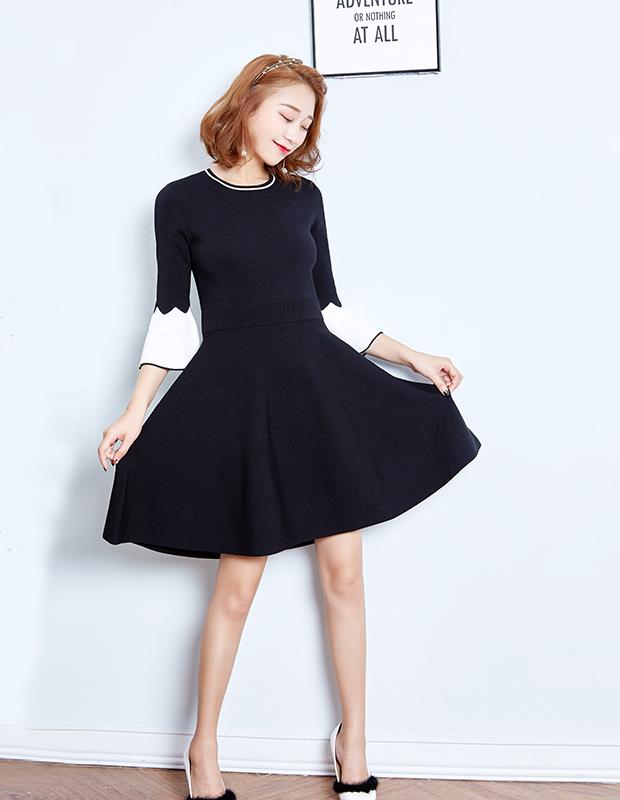 YCDQ-723 撞色荷叶袖毛织连衣裙