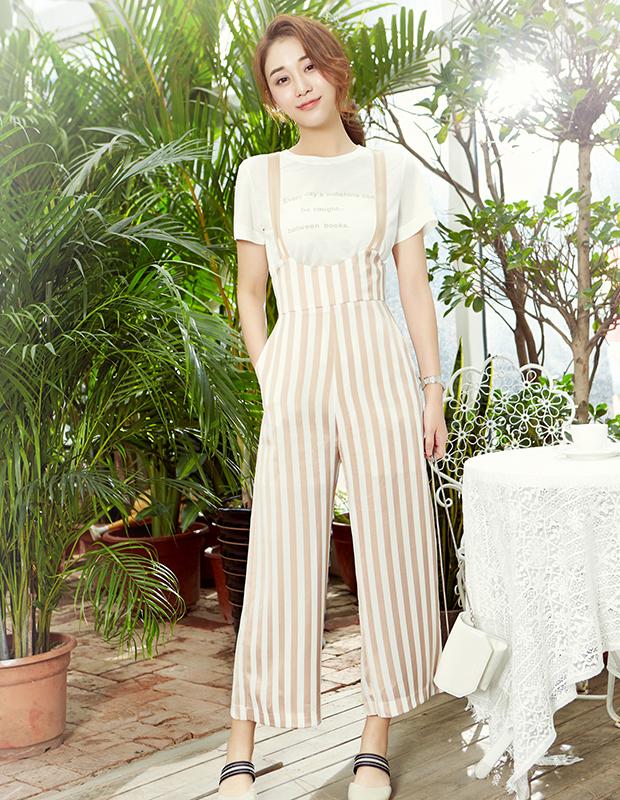【伊霓裳】YCAB-008 超高腰竖纹雪纺背带裤